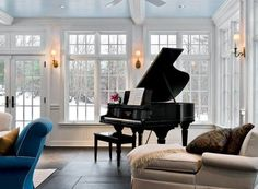 The PIANO. The crown molding. The windows. The sky-blue ceiling. The cream chaise lounge. The flooring. I've had this image in my mind for a long time now and I'm seeing it in real life.     This is my favorite thing I've ever pinned on pinterest.
