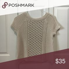 Loft Short Sleeve Knitted Shirt This beautiful sweater is perfectly prim and proper! NWOT - tan - wear with cami under it • from a Smoke Free Home LOFT Tops Blouses