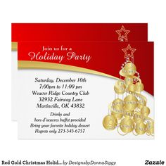 Holiday tea party invitation pinterest red gold christmas holiday tree invitation stopboris Images
