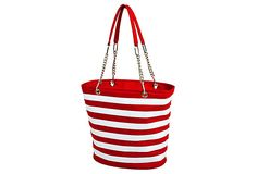 Cooler bag, Dr. Seuss style, Cat in the Hat, Red and White Stripe. Perfect for taking water bottles and snacks to the park this summer. $22