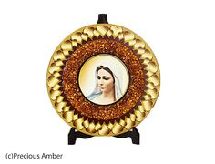 Virgin Mary holy art catholic art Baltic amber pictures holy icon prints on wood decorated with Baltic amber by PreciousAmber on Etsy