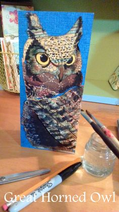 Great Horned Owl - Scrap paper, watercolor pencil, ink  - by Beverly Ewart - 2.14.15