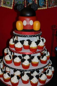 Mickey Mouse birthday cupcake tower.  See more Mickey Mouse birthday party and kids birthday party ideas at www.one-stop-party-ideas.com