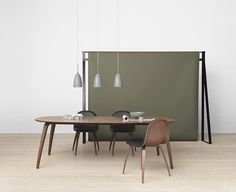 GUBI - Gubi Chair, Gubi Dining Table and Gräshoppa Pendant Lamp