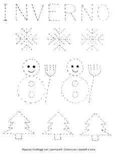 Blog scuola, Schede didattiche scuola dell'infanzia, La maestra Linda, Schede didattiche da scaricare, Paper Embroidery, Embroidery Patterns, Diy And Crafts, Arts And Crafts, Winter Activities For Kids, New Years Eve Party, Educational Activities, Simple Christmas, Worksheets