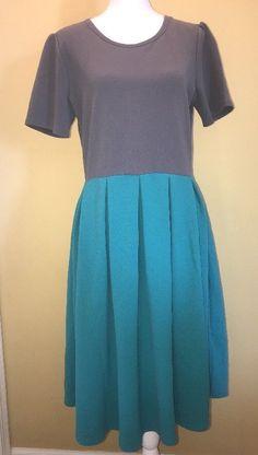 Lularoe Amelia Dress XL Gray Teal Green Colorblock Textured Short Sleeve Pocket  | eBay