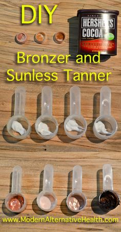 DIY Cosmetics ~ Don't know if I'd put cocoa on my ghostly skin but it might work for darker complexions. DIY Sunless Tanner and Bronzer Beauty Secrets, Diy Beauty, Beauty Hacks, Beauty Skin, Diy Self Tanner, Homemade Beauty Products, Tips Belleza, Beauty Recipe, Health And Beauty Tips