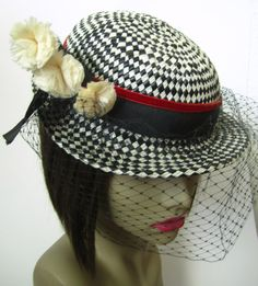 Vintage 1950s Checkered Straw Hat with Feathers and by MKRetro, $55.00