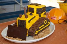 bulldozer cake - I might have to do a construction themed party just to be able…