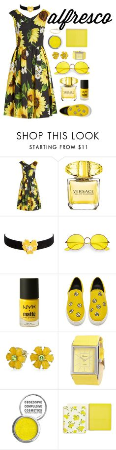 """Alfresco"" by sunshinelarry ❤ liked on Polyvore featuring Dolce&Gabbana, Versace, Kenneth Jay Lane, Ray-Ban, NYX, Bling Jewelry, Geneva, Obsessive Compulsive Cosmetics, Kate Spade and Sydney Evan"