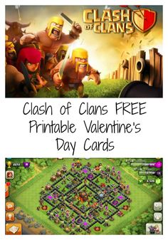 FREE Printable Clash of Clans Valentine's Day Cards & Coloring Pages