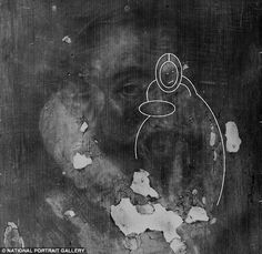 Hidden: Running over Walsingham's face is the outline of what appears to be the Virgin Mary and Christ