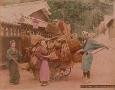 Catawiki online auction house: Unknown (XIX) - Street vendor in the streets of Kyoto, Japan