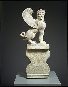 The sphinx, a mythological creature with a lions body and a human head, was known in various forms throughout the eastern Mediterranean region from the Bronze Age onward. The Greeks represented it as a winged female and often placed its image on grave monuments as guardian of the dead.
