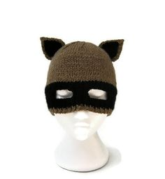 this hat is even better...love it! /// Raccoon hat balaclava racoon ears animal ear mask beanie hand knitted in brown. £35.00, via Etsy.