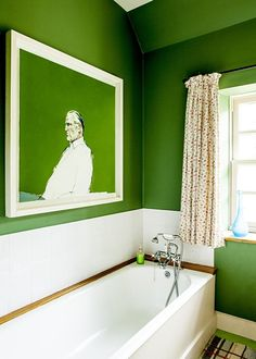 Lime green walls with white trim in bathroom with painting Carnoch House Lime Green Bathrooms, Green Bathroom Decor, Dark Brown Bathroom, Small Bathroom Paint, Lime Green Walls, Crazy Home, African House, Green Rooms, New Blue