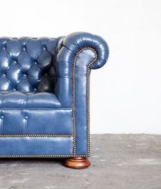 Blue leather couch, someday the kids will move away and I'll have snazzy furniture.
