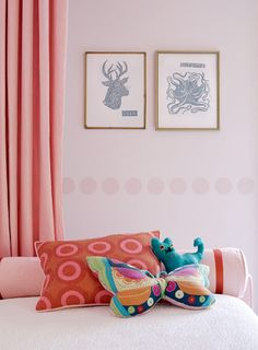This warm, soft, glowing pink is the loveliest color. Do want pink curtains.