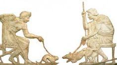 The Cat in Minoan, Etruscan, Greek and Roman Art:   Cat and Dog Fight Bas Relief. - Ancient Greece