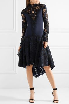Asymmetric crepe and guipure lace dress by Jonathan Simkhai