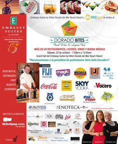 Dorado Bites...suculentos manjares de mas de 20 restaurantes, musica, participacion de Susa & Epifanio, Chef Marilyn Lopez, animacion de Grenda Rivera & Gredmarie Colon...no te lo pierdas!
