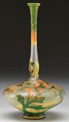 ** Daum Frères, Nancy, Acid Etched and enameled Glass Vase.