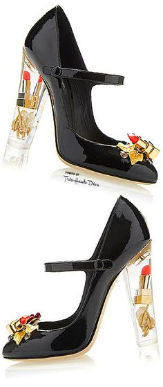 Dolce & Gabbana Fall 2015 Lipstick Patent Mary Jane Pump With Transparent Plexi Heel ♔Très Haute Diva♔
