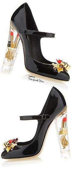 Dolce & Gabbana Fall 2015 Lipstick Patent Mary Jane Pump With Transparent Plexi Heel