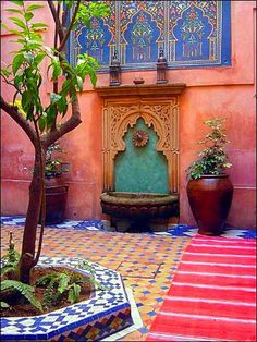 Moroccan Riads Courtyards are filled with an array of colors, textures, and the courtyard is considered the heart of the home - take a look at these magnificent Moroccan Riad Courtyards that will have you packing your bags in no time! Moroccan Home Decor, Moroccan Interiors, Moroccan Design, Moroccan Style, Moroccan Colors, Moroccan Art, Moroccan Pattern, Moroccan Wall Stencils, Modern Moroccan