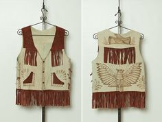 vintage 1960s / 1970s men's suede fringe vest with thunderbird by StopTheClock