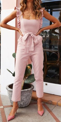 JUSTREDCOCO Fashion Ruffled Square Collar Sling Tied Belt Jumpsuit is part of Jumpsuit fashion - Daily Life Style Casual Gender Women Product no Please Note All dimensions are measured manually with a deviation of 1 to Length Bust Waist Hip inch cm inch Asos Jumpsuit, Jumpsuit Outfit, Pink Jumpsuit, Summer Jumpsuit, Mode Outfits, Fashion Outfits, Womens Fashion, Fashion Ideas, Fashion Week