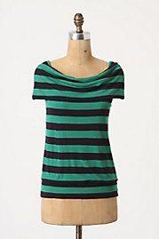 Sleeveless Shawl-Collar Boatneck, Striped