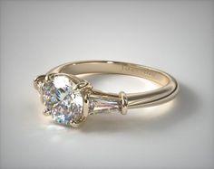 Tapered Baguette VS1 VS2 Diamond Engagement Ring | 18K Yellow Gold | 17150Y - Mobile