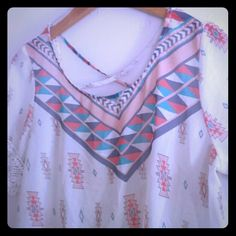 XL Flowy summer shirt Body 100% polyester Trim 100% Cotton Lace both arms and waist Been worn but cleaned Tops Blouses
