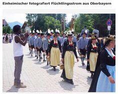 Einheimischer fotografiert Flüchtlingsstrom aus Oberbayern ... Manchmal kann man die Realität nur noch satirisch ertragen