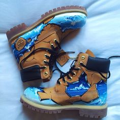 Custom Timberlands Timberlands Shoes, Custom Shoes, Custom Sneakers, Shoes Sneakers, Shoe Art, Painted Sneakers, Painted Shoes, Custom Timberland Boots, Timbaland Boots