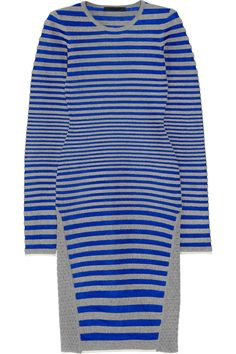 Alexander Wang Striped stretch-fleece and satin-twill dress