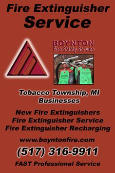 Fire Extinguisher Service Tobacco Township (517) 316-9911.. Local Michigan Businesses you have found the complete source for Fire Protection. Fire Extnguishers, Fire Extinguisher Service.. We're got you covered..