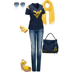 A fashion look from July 2012 featuring blue distressed jeans, NIKE and high heel wedge sandals. Browse and shop related looks. West Virginia University, Distressed Jeans, Passion For Fashion, Spring Fashion, Style Me, Fashion Looks, Cute Outfits, Fashion Outfits, Heaven