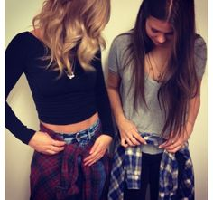 Flannel and high wasted jeans