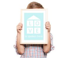 Love is spoken here 8x11 inches blue Typography by MILKANDPAPER, $17.00