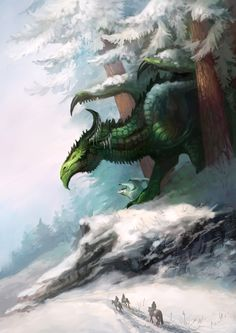 Forest Dragon by Neboveria Magical Creatures, Fantasy Creatures, Fantasy Dragon, Fantasy Art, Fantasy Life, Green Dragon, Snow Dragon, Big Dragon, Cool Dragons