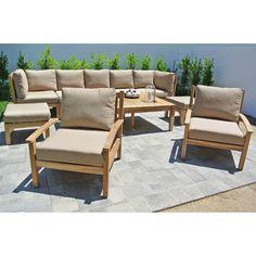 Willow Creek Designs Huntington 6 Piece Deep Seating Group with Cushion Fabric: Seville Seaside