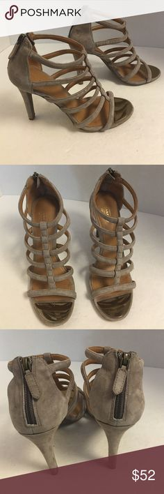 Coach Lavania taupe suede strappy heels You're full gently used pair of coach taupe suede strap he heals. 4 1/2 inch height. Great condition. Coach Shoes Heels