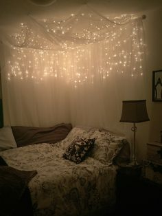 Full/Queen Bed Canopy with lights | White christmas lights, Sheer ...