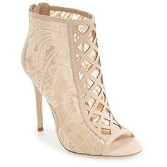 Women's Daya By Zendaya 'Angus' Lace Open Toe Bootie (140 AUD) ❤ liked on Polyvore featuring shoes, boots, ankle booties, ankle boots, nude lace fabric, open toe booties, stiletto ankle boots, lace-up ankle booties, stiletto booties and high heel stilettos