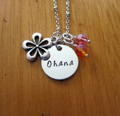 Ohana Means Family necklace. Inspired by Lilo & Stitch. Silver colored, Swarovski crystals, for women or girls