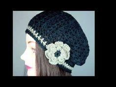 Boina caida tejida a crochet - YouTube