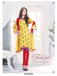 Yellow N Red Cotton Classy Casual Salwar Kameez  Eid casual salwar kameez