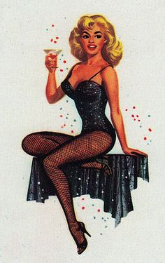 Vintage pin-up playing card, about early 1960s.